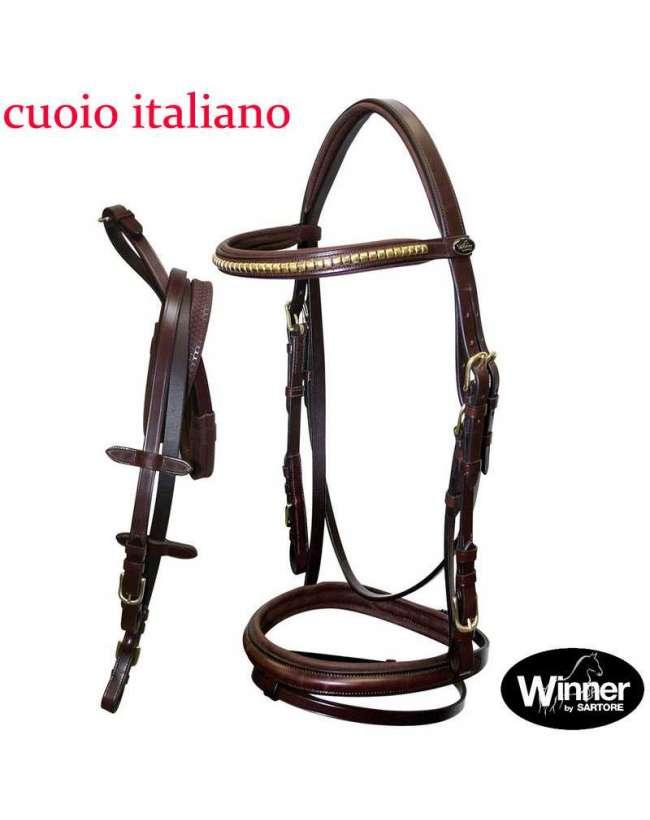 BRIGLIA INGLESE WINNER SARTORE IN CUOIO ITALIANO COMPLETA DI REDINI