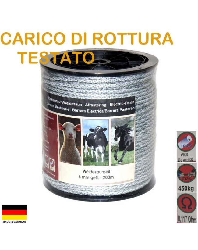 Corda da 6 milletri per recinzioni per equini e bovini for Recinzione elettrica per cavalli